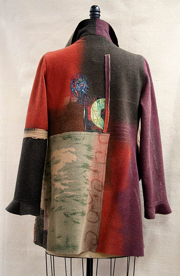 Warm Red, circles, blues and greens I Love this jacket!