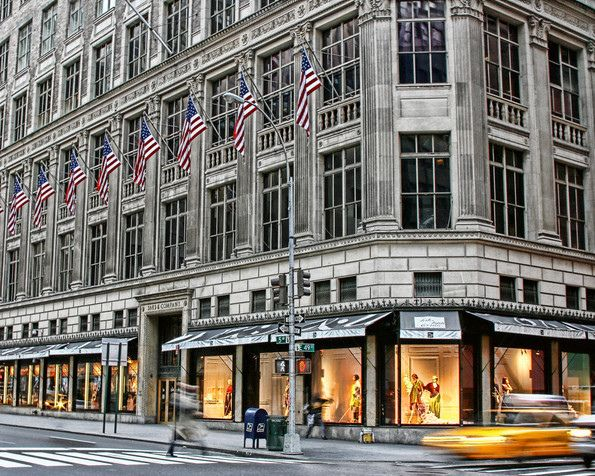 Saks Fifth Avenue, Manhattan, New York City. We spend time in New York at the start of our USA Coast to Coast rail tour http://www.greatrail.com/tours/usa-coast-to-coast/