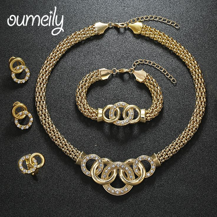 OUMEILY Party Accessories Wedding Jewelry Sets For Women Pendant African Beads Imitation Crystal Necklace Earrings Fine Rings