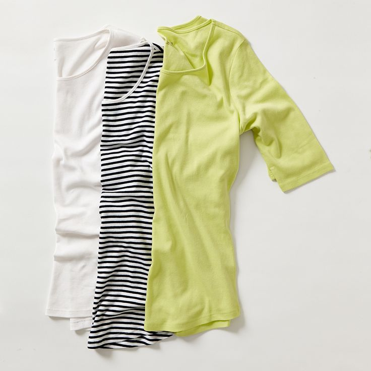 COTTON TEES / Our go everywhere, wear with everything 100% cotton tees in vibrant citrus hues, chic statement stripes and fresh white will be the hero of your new spring summer wardrobe.
