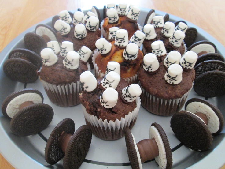 Star Wars themed food for Star Wars Day - Trooper Muffins & Oreo Tie-Fighters