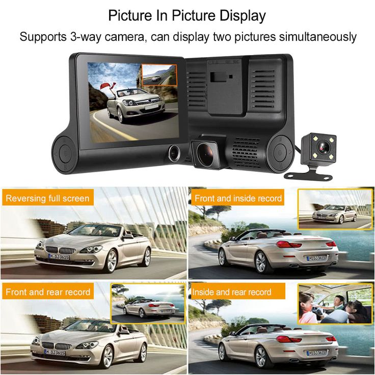 "KKMOON 4"" 1080P Three Lens Car DVR Dash Cam Camera Camcorder Sales Online black - Tomtop.com"