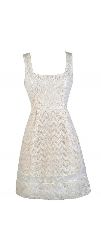 Lily Boutique A Sprinkle Of Glitter Ivory and Gold Dress, $40