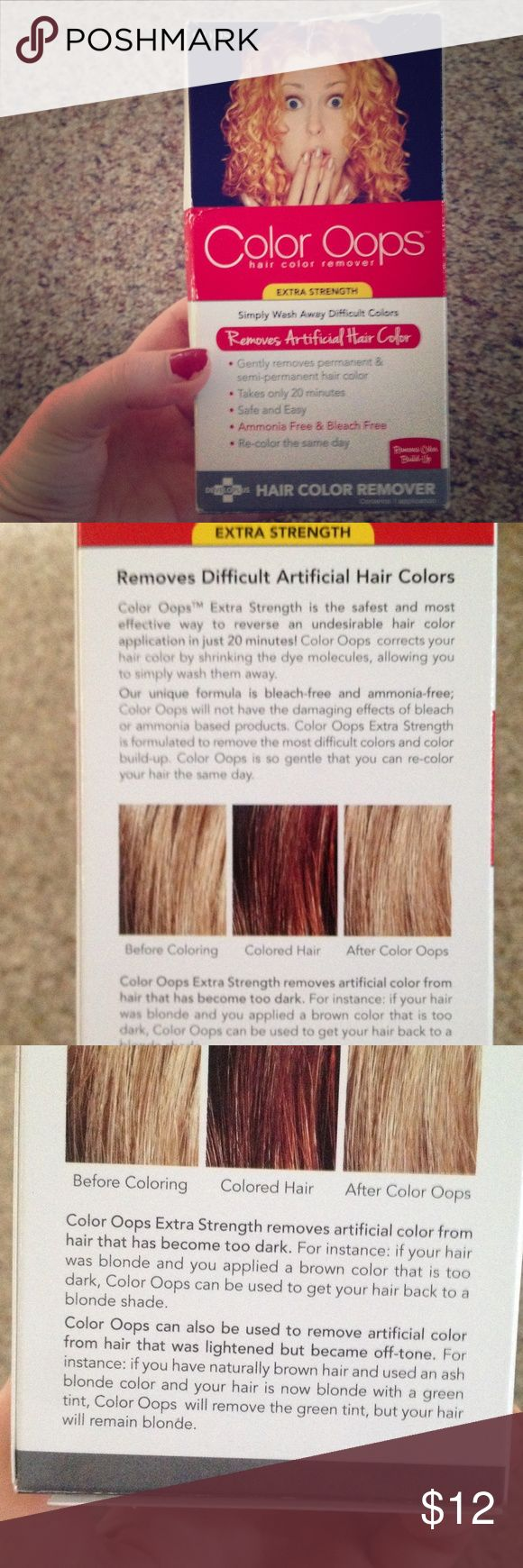 COLOR OOPS Extra strength hair color remover, takes out all artificial hair color an dyes naturally without ammonia or bleach so there is no harm to your hair. Takes only 20 minutes. Also removes color buildup. Never been used or opened. Bought from Sally's Beauty Supply and never used it. #hairdye #haircolor #haircolorremover #naturaldyes #hair #color #amoniafree #bleachfree #coloroops #nwt #new #brandnew #neverused color oops Other