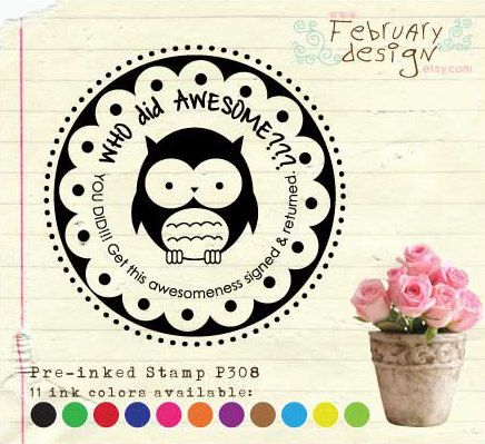 Self Inking Address Stamp / Pre-inked Stamp (OWL) Whoooo did awesome Teacher Stamp, Handmade by Stamp, Follow My Blog (P308) Free Proof