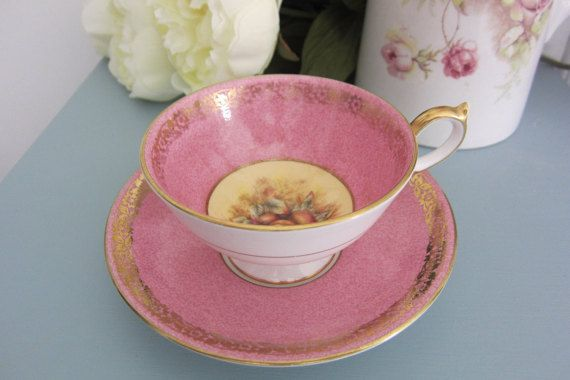 Aynsley Cup Saucer Orchard Fruits Pink England English Footed Gilded  Mothers…