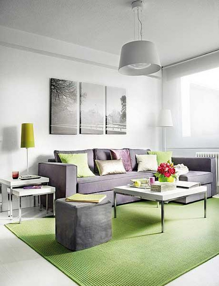 living room poufs%0A Fresh Small Apartment Living Room Design With White Wall Paint And White  Ceramic Floor Tile Combined With Relaxing Lime Green Rug And Gray L Shaped  Sofa And