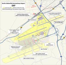 Plan of Schoenefeld and future Berlin-Brandenburg airports
