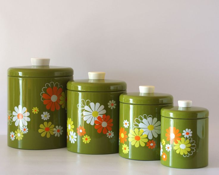 Vintage Ransburg Canister Set Avocado with White (Etsy page) - I may or may not have sheets and/or other canisters to match these...