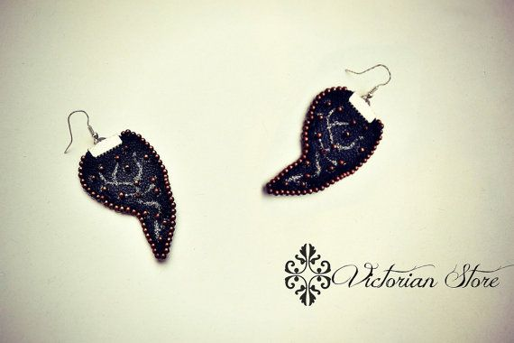 Beautiful leather earrings with copper beads
