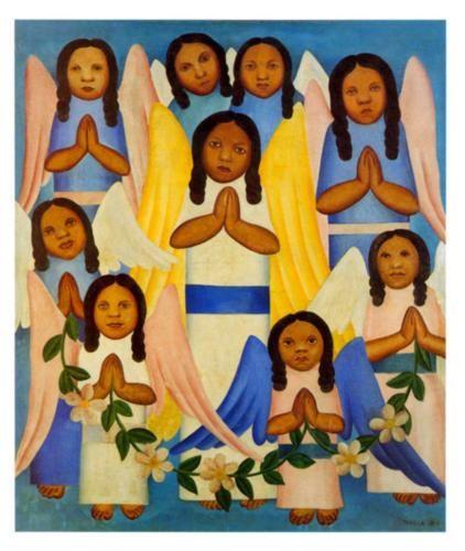 Anjos - Angels Tarsila do Amaral Óleo sobre tela | (1924)  Coleção Gilberto Chateaubriand - MAM/RJ | Local indefinido   85 x 74 cm