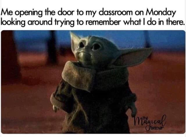 Teachers On Monday After A Long Break Funny Animal Quotes Yoda Funny Yoda