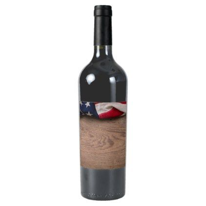 Vintage American Flag Border Wine Label - kitchen gifts diy ideas decor special unique individual customized