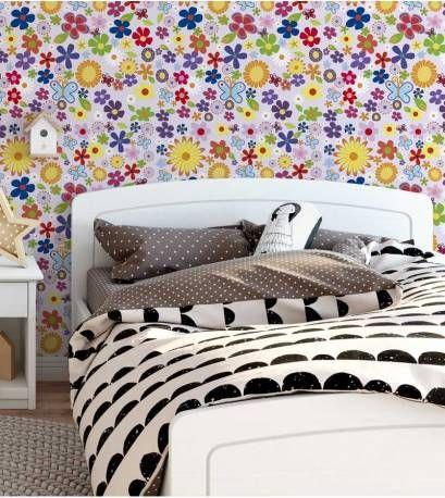 Papel de parede auto adesivo infantil Floral, primavera, com pequenas flores em tons de lilás, vermelho, amarelo, rosa, verde,azul, branco e rosa. Ideal...