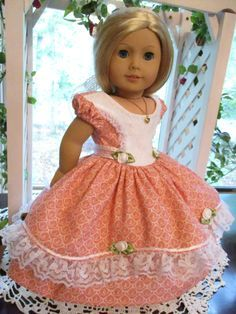 "Southern Belle Pink Doll Dress to fit your 18"" American Girl Doll for Civil War Era by Emmakate0 on Etsy"