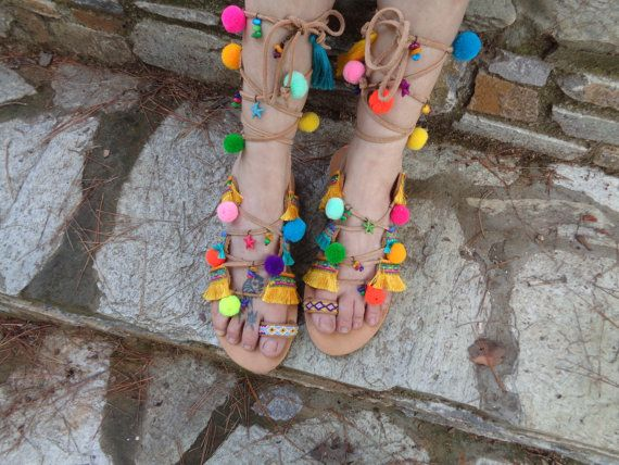 Gladiator Sandals, lace up sandals, Pom Pom sandals, Greek Leather Sandals  by Oniropolis