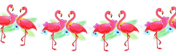 Festone fenicottero rosa Hawaii cartonato: una lungha ghirlanda con pendenti a forma di fenicottero rosa, perfetta per la tua decorazione d'ambiente a tema Hawaii!