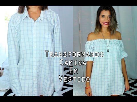 BLUSA HOMBROS DESCUBIERTOS con camisa de hombre reciclada - Tutorial de SANDRA PADILLA - YouTube