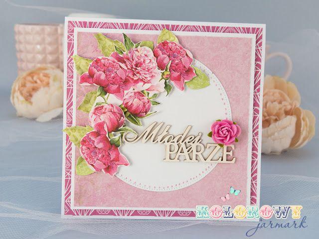 Wedding card with peony #cardmaking #Scrapbooking #peony #papercraft
