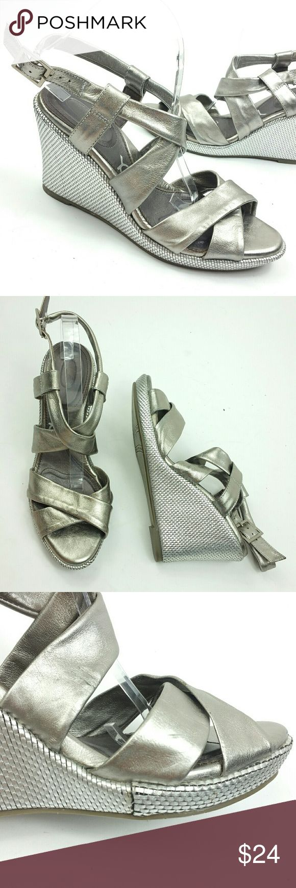 You by crocs silver wedge heel ankle strap 9.5 You by crocs silver wedge heel ankle strap 9.5  Size 9.5  Flaw Light flaw in crease, see pictures, small scratch on toe area CROCS Shoes Wedges