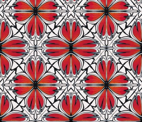 Red Orange flower  fabric by doodlepippin on Spoonflower - custom fabric