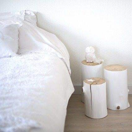 White painted wooden log side tables or stools