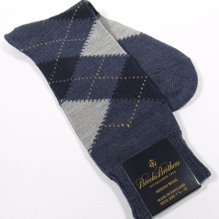 BROOKS BROTHERS Men's Argyle Dress Socks Merino Wool England FRENCH BLUE HTR NWT #BrooksBrothers #Dress