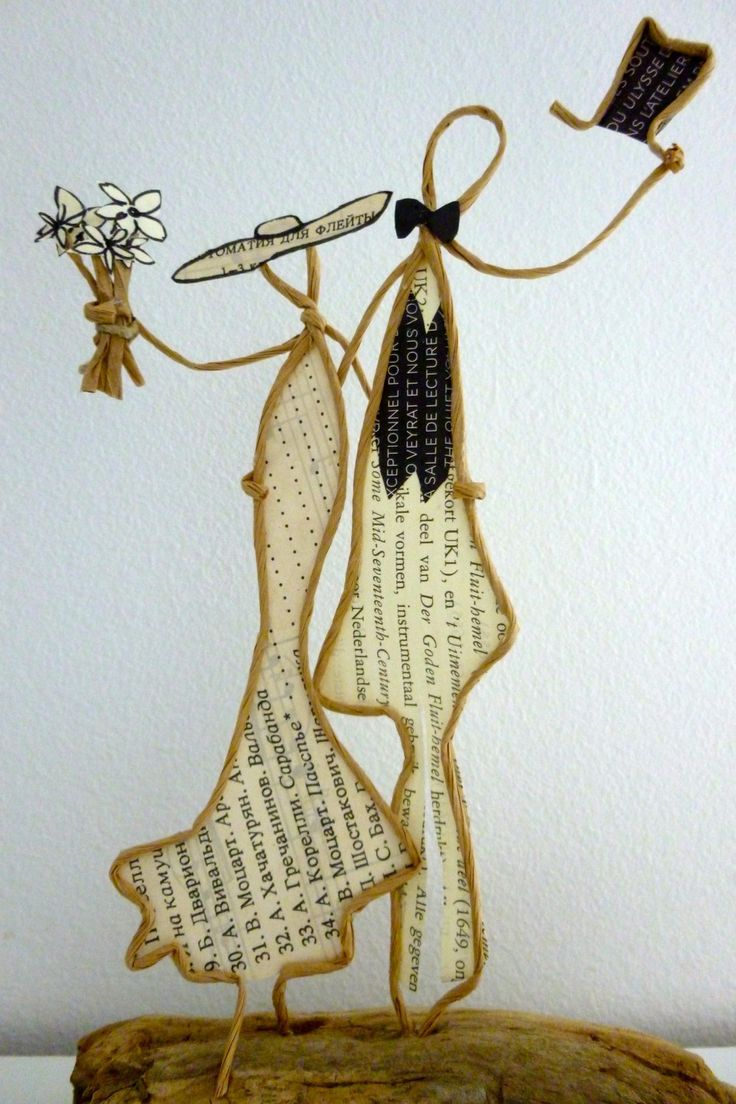 Les mariés - figurines en ficelle et papier : Accessoires de maison par ficelleetpapier