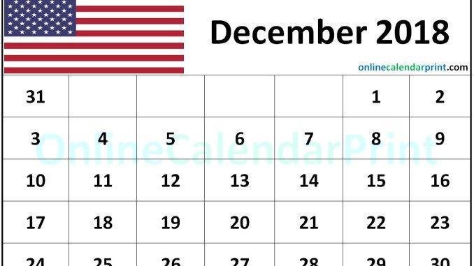 December 2018 Calendar USA (2) December 2018 Calendar Free
