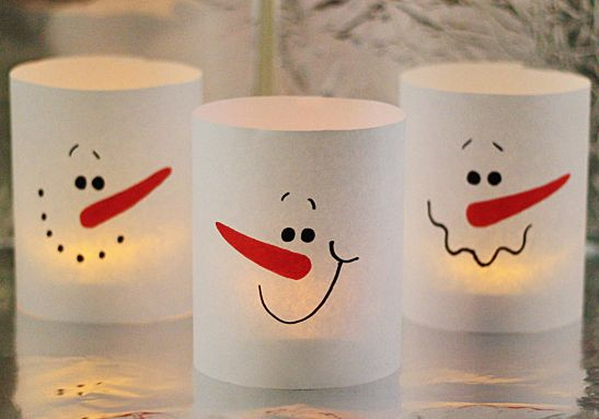 Paper Snowman Luminaries in 3 Minutes - simple kid craft for the holidays. Use dollar store tea lights.