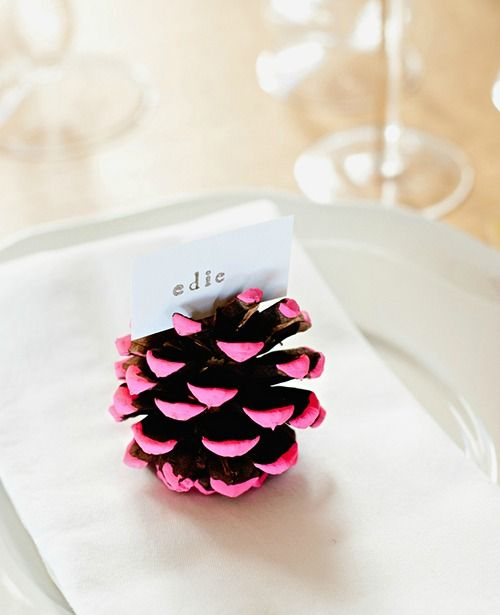 paint the tips of a pinecone and you have a cute place card. I'd prob do gold or silver.