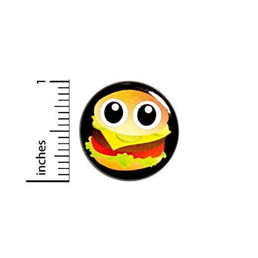 Amazon com: Funny Cheeseburger Button Pin Burger With Eyes