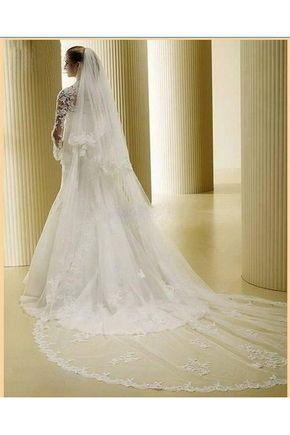 Véus de Noiva Laços e Apliques Tule Véus Catedral Bordado
