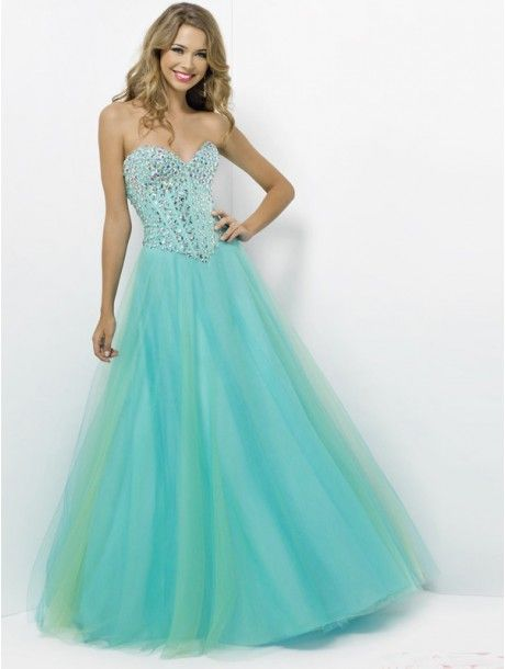 A-line Strapless Sleeveless Tulle Prom Dresses With Beaded #VenusJ028 - #Prom