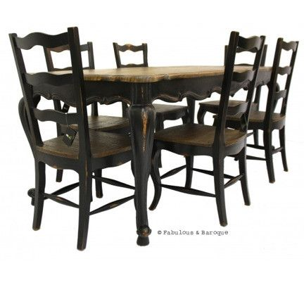 French Country Rustic Dining Table And 6 Chairs   Black French Ornate  Modern Baroque U0026 Rococo