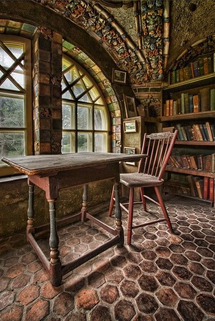 littledallilasbookshelf: Library loft at Fonthill, a historic Arts and Crafts mansion in Doylestown, Pennsylvania,