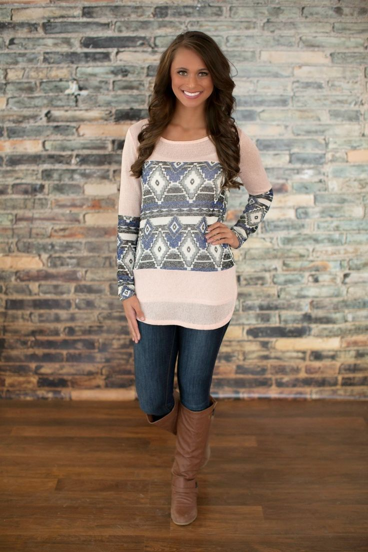The Pink Lily Boutique - I'm Not The Only One Peach Aztec Tunic, $36.00 (http://thepinklilyboutique.com/im-not-the-only-one-peach-aztec-tunic/)