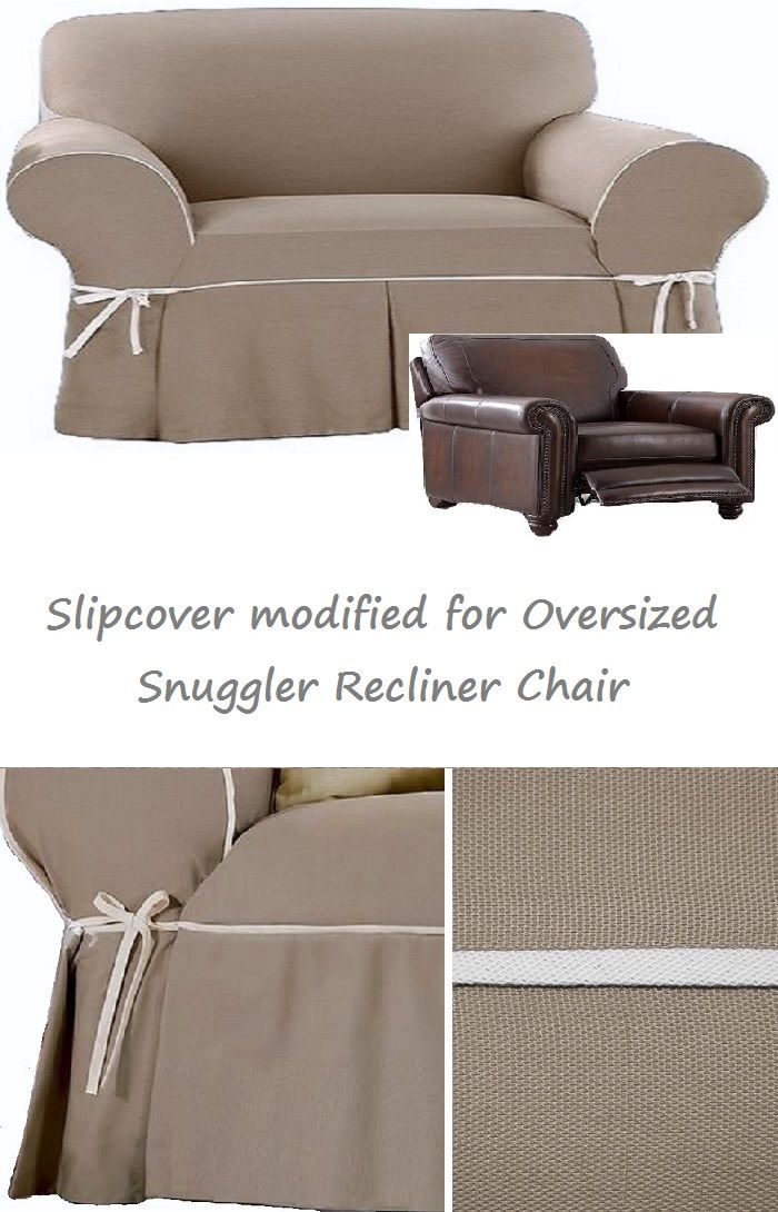 Reclining Snuggler Chair Slipcover Contrast Taupe Linen Wide Cuddler Slipcovers For Chairs Slipcovers Chair And A Half