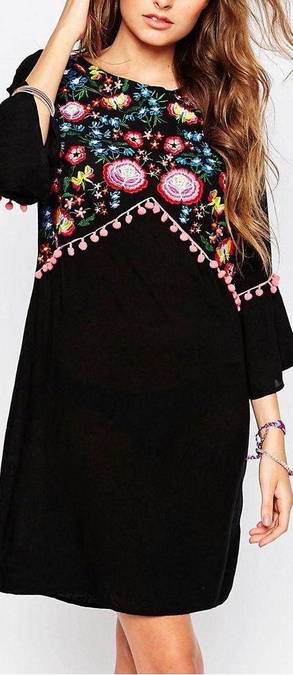 folk embroidery dress