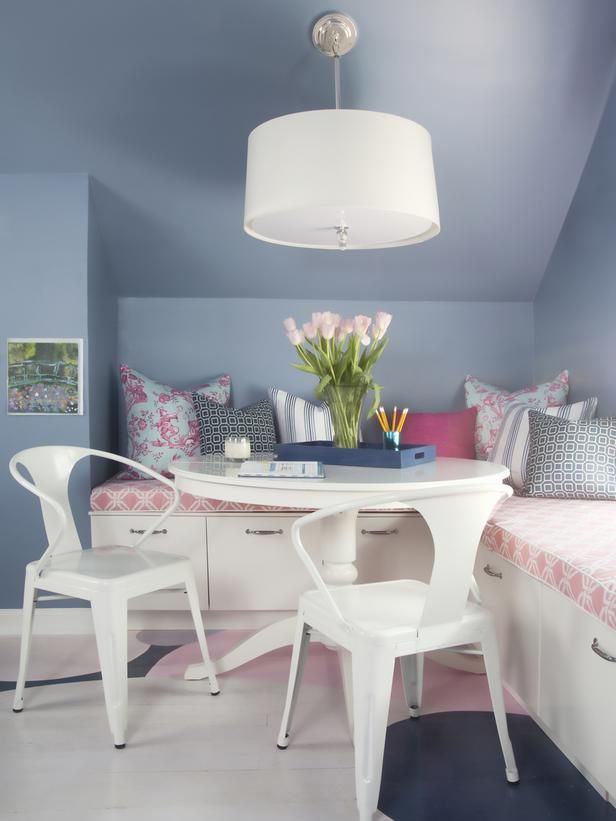 Paired with white and pink, steel blue looks more grown-up and sophisticated than traditional purple in this kids' homework space designed by Brian Patrick Flynn.: Blue Kids Rooms, Small Attic Bedrooms, Wall Colors, Reading Area, Girls Bedrooms, Blue Wall, Kids Homework Spaces, Window Seats, Girls Rooms