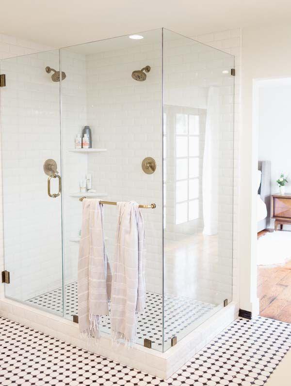master bathroom remodel - glass enclosed shower, black and white tile floor