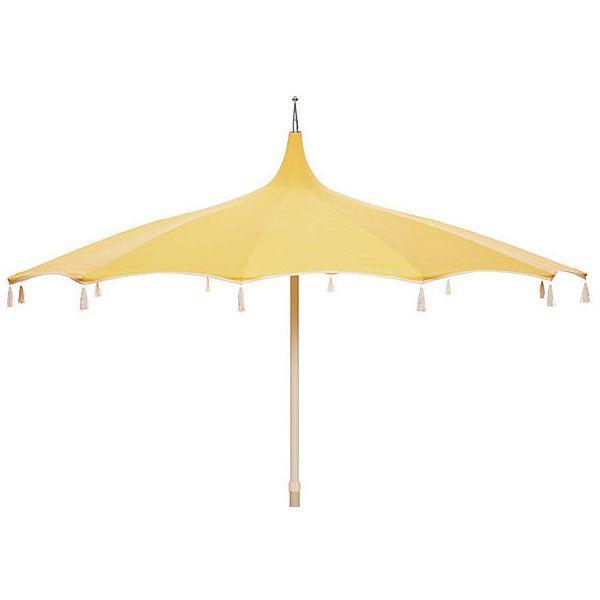 Rena Pagoda Tassel Patio Umbrella Light Yellow Acrylic / Lucite... (u20ac400