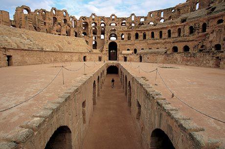 El Jem Arena, Tunisia. The biggest Roman arena outside of Italy.