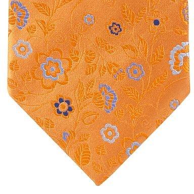 Orange fancy floral tie -