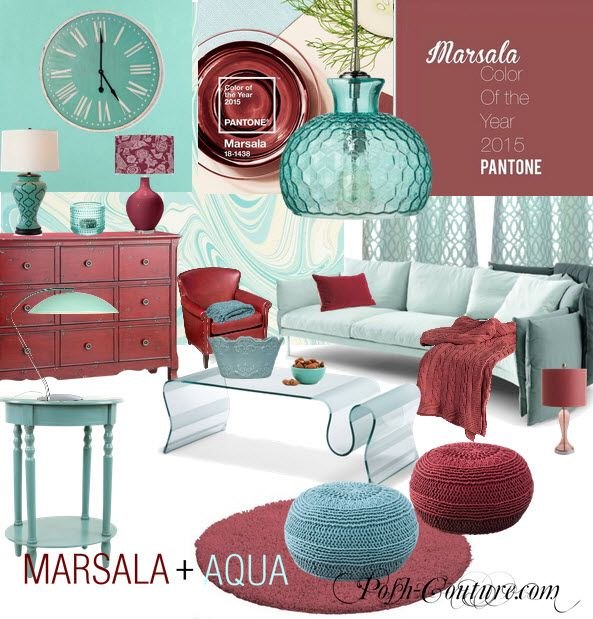MARSALA COLOR PAIRINGS for 2015- with aqua