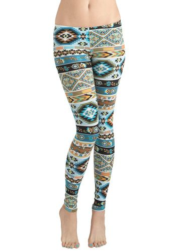 FUNN!!!! this could look great with a black mini skirt.  Girls Who Like Turquoise Leggings, #ModCloth