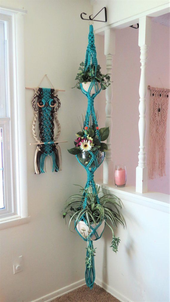 Boho Room Decor – Hippie Room Decor – Triple Macrame Plant Hanger – Boho Living Room Decor – Boho Home Decor – Turquoise Macrame – 3 Tier