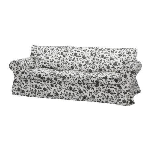 Ikea Ektorp Sofa 3 Seat Sofa Slipcover Hovby Black White Floral
