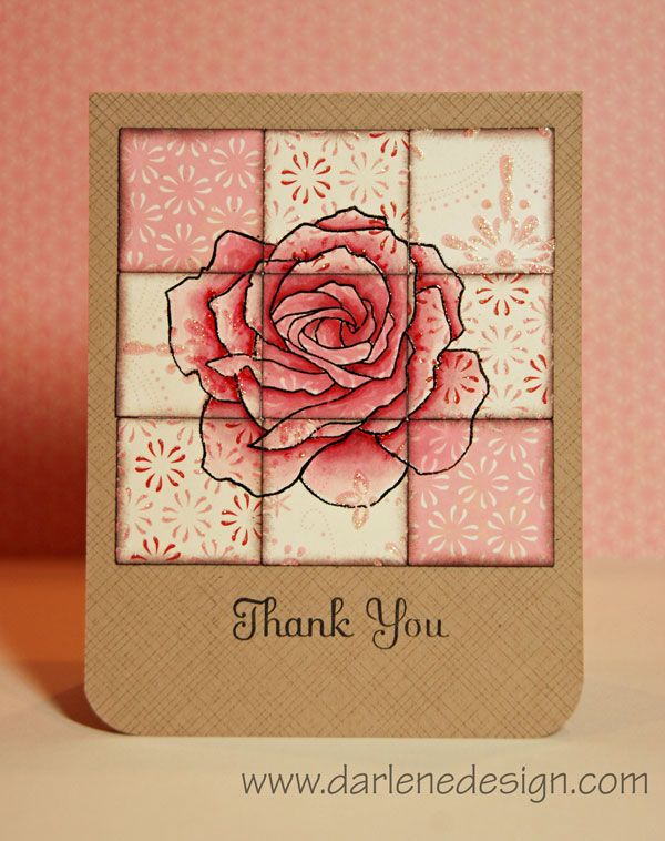 handmade card: Copics on Patterned Paper ... luv this big rose ... quiltblock of patterned papers with stamped rose ... like the blending of colors with the kraft card base ... sweet!!