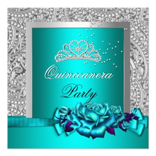 Roses Teal Silver Glitter Look Quinceanera Personalized Invitation by zizzago.com